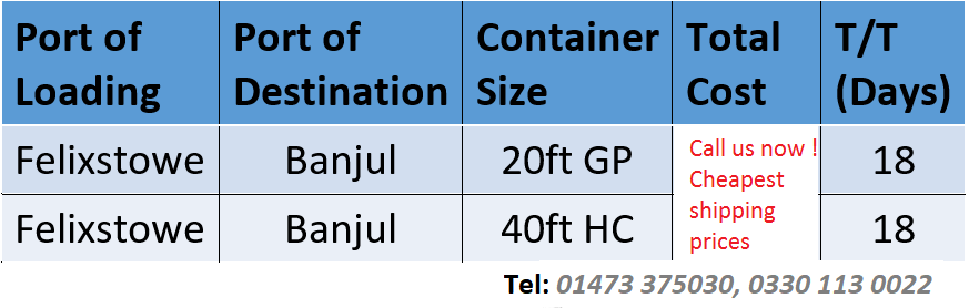 container shipping prices to banjul gambia